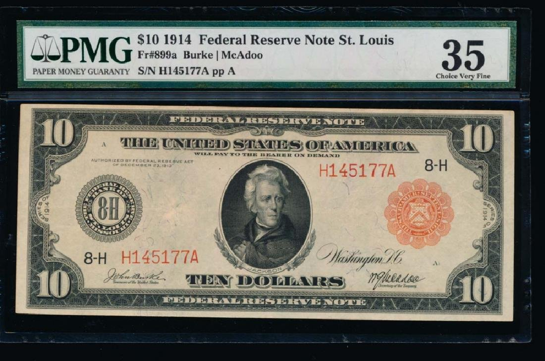 1914 $10 Red Seal Saint Louis Federal Reserve Note PMG