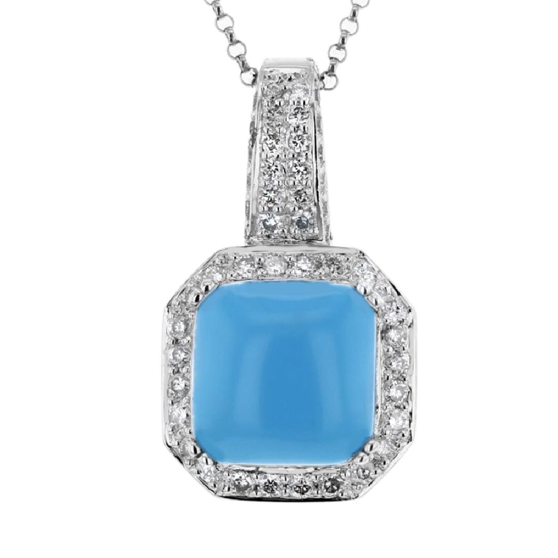 14KT White Gold 5.96ct Turquoise and Diamond Pendant