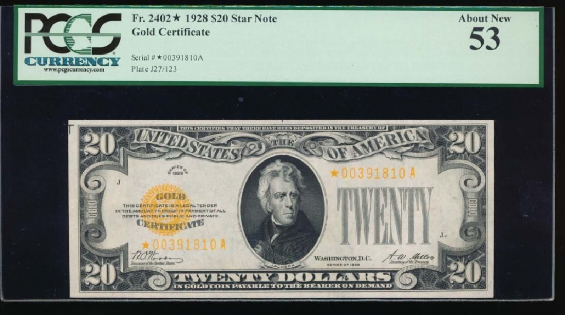 1928 $20 Gold Certificate Star Note PCGS 53