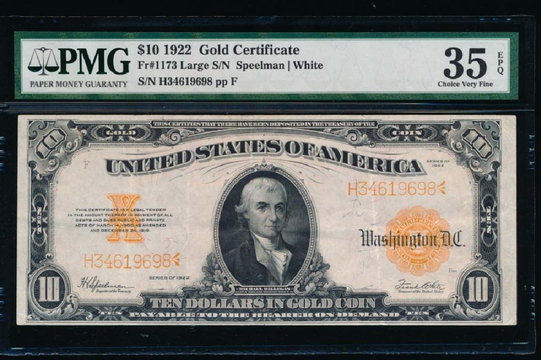 1922 $10 Gold Certificate PMG 35EPQ
