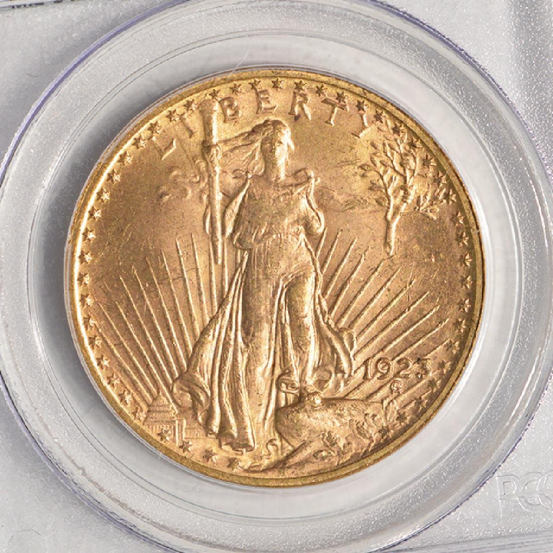 1923 $20 St Gaudens Double Eagle Gold Coin PCGS MS63 - 3