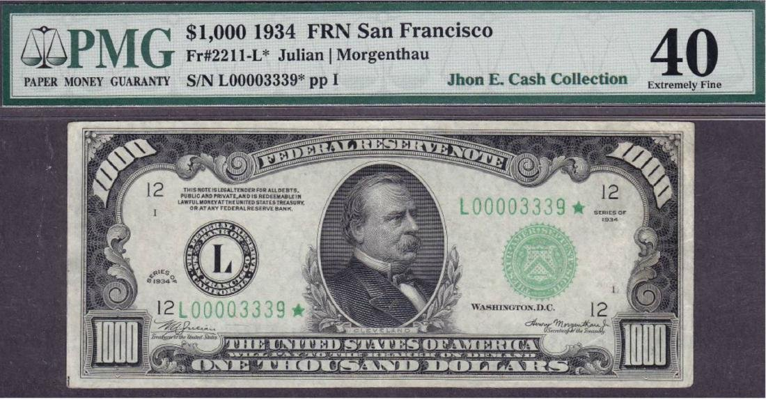 1934 $1000 San Francisco Federal Reserve Star Note PMG