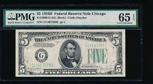 1934D 5 Chicago Federal Reserve Note PMG 65EPQ