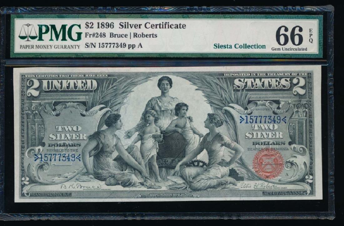 1896 $2 Educational Silver Certificate PMG 66EPQ