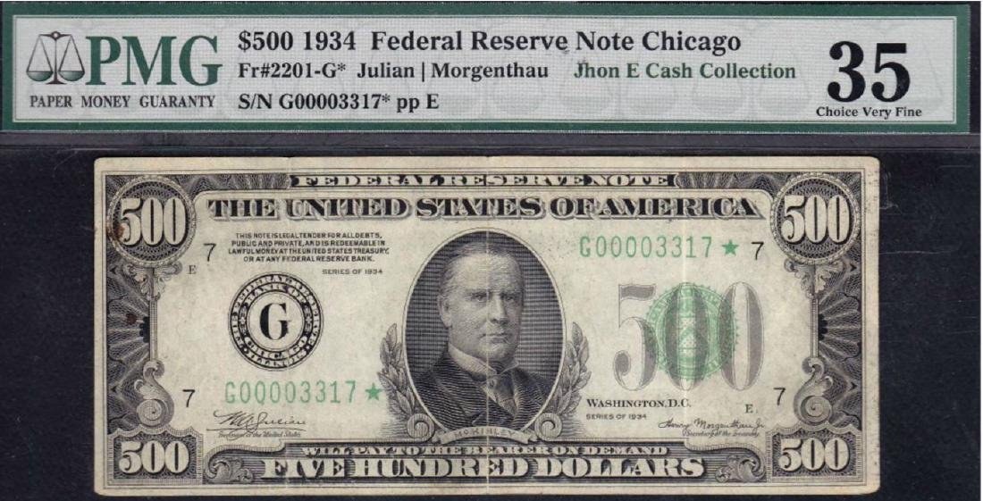 1934 $500 Chicago Federal Reserve Star Note PMG 35