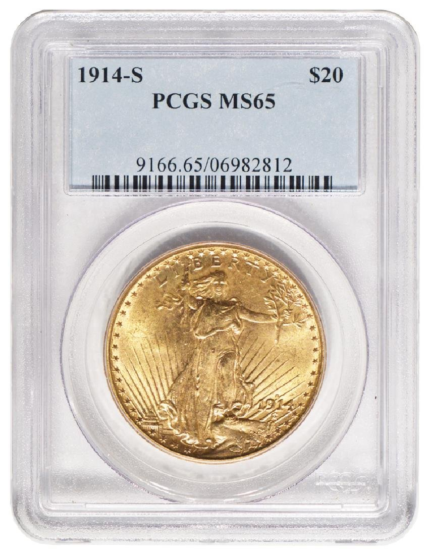 1914-S $20 St Gaudens Double Eagle Gold Coin PCGS MS65