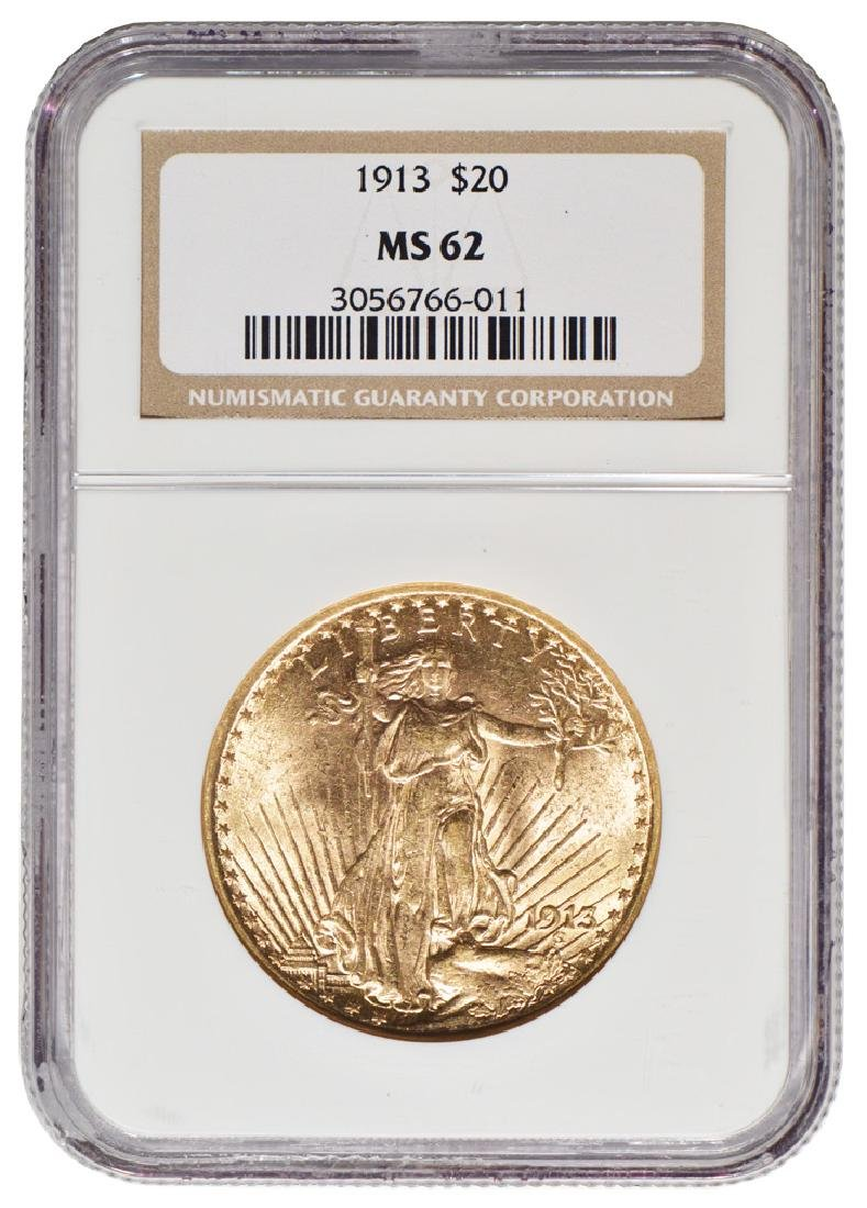 1913 $20 St Gaudens Double Eagle Gold Coin NGC MS62
