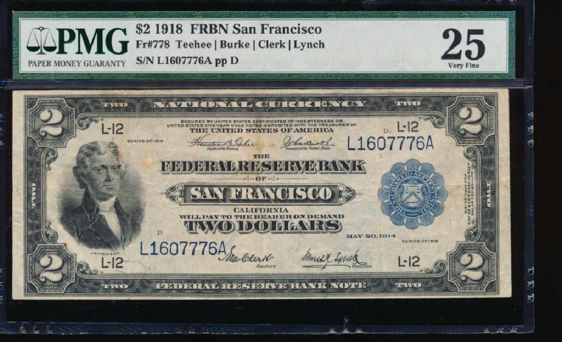 1918 $2 San Francisco Federal Reserve Bank Note PMG 25