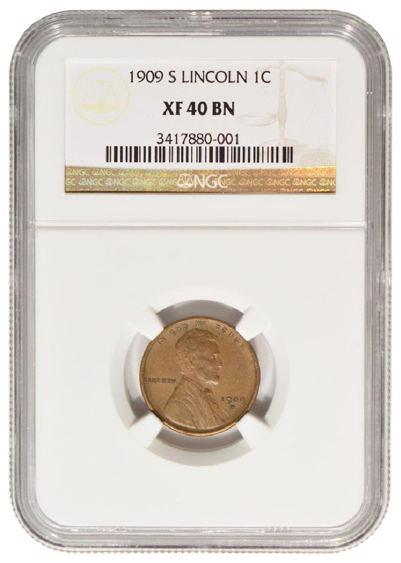 1909-S Lincoln Cent NGC XF 40 BN