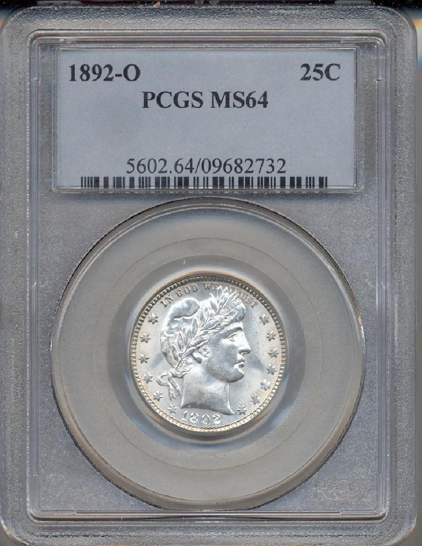 1892-O Barber Quarter Coin PCGS MS64