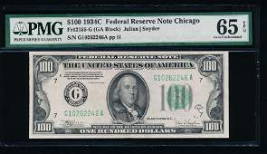 1934C 100 Chicago Federal Reserve Note PMG 65EPQ