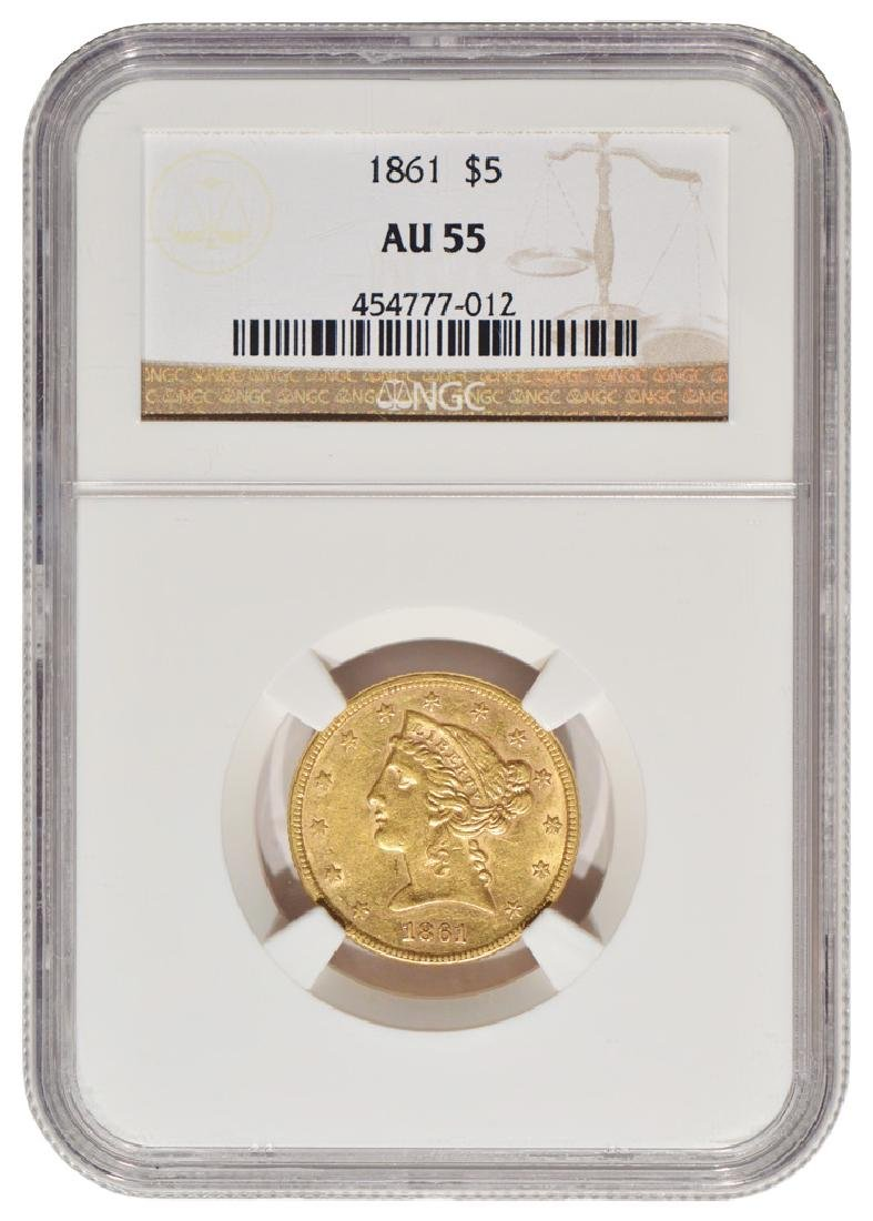 1861 $5 Liberty Head Half Eagle Gold Coin NGC AU55