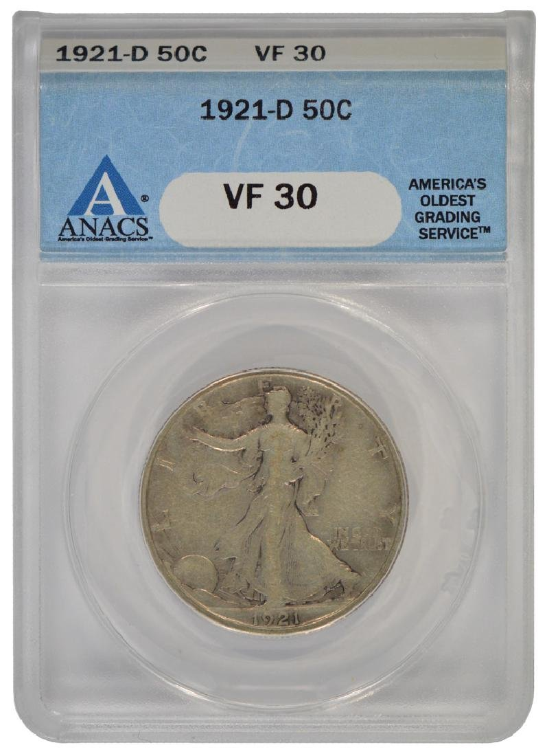 1921-D Walking Liberty Half Dollar Coin ANACS VF30