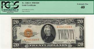 1928 $20 Gold Certificate Star Note PCGS 40