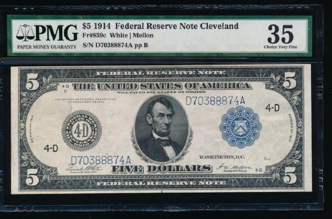 1914 $5 Cleveland Federal Reserve Note PMG 35