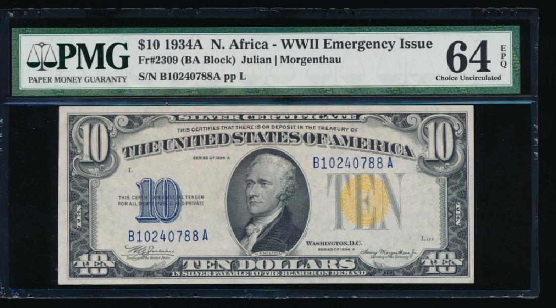 1934A $10 North Africa Silver Certificate PMG 64EPQ