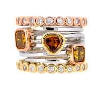 14KT Tri Color Gold 218ctw Fancy Diamond Ring