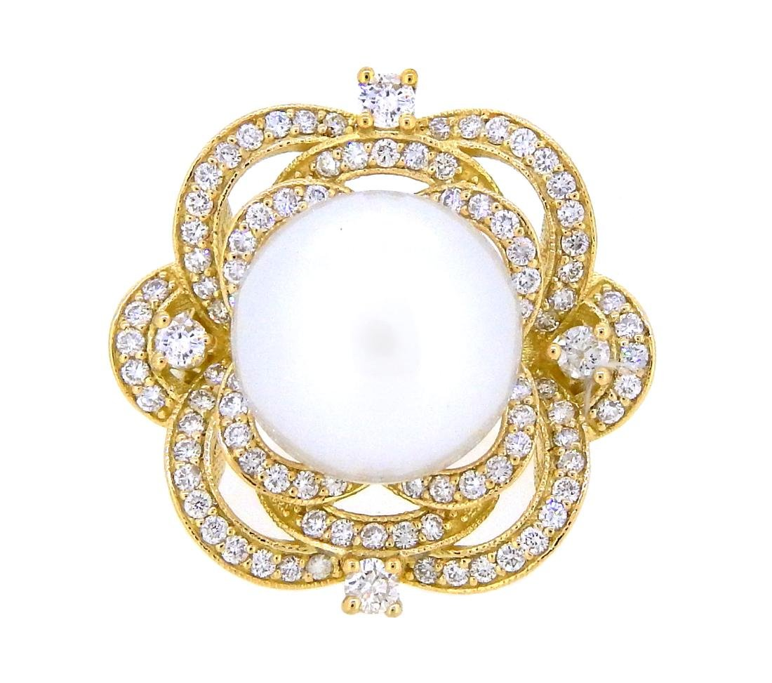 18KT Yellow Gold 13.5mm South Sea Pearl and Diamond