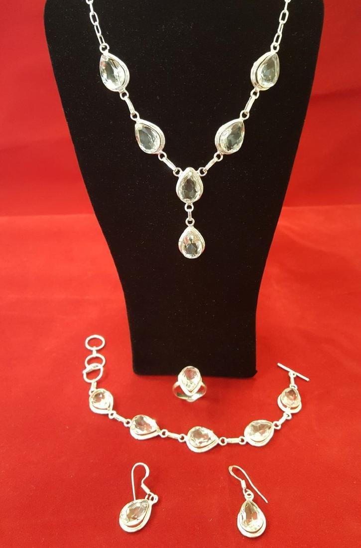 4 Piece White Topaz Jewelry Set