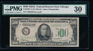 1934A 500 Chicago Federal Reserve Note PMG 30