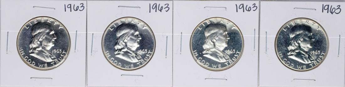 Lot of (4) 1963 Proof Franklin Half Dollar Coins
