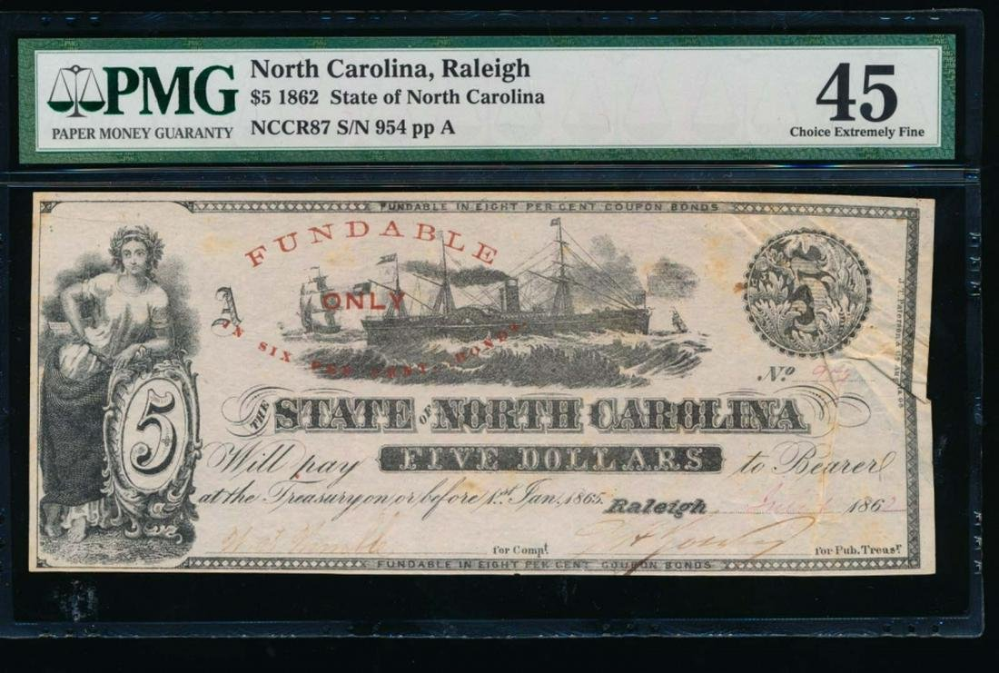 1862 $5 North Carolina Obsolete Note PMG 45