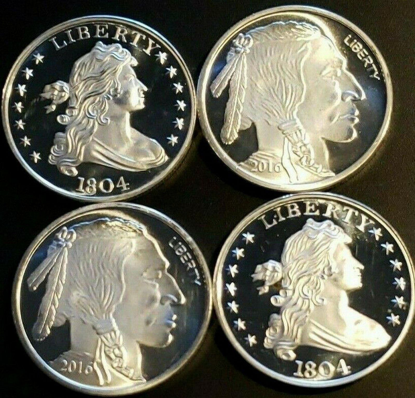 (2) 1804 Liberty Dollars and (2) Buffalo Dollars