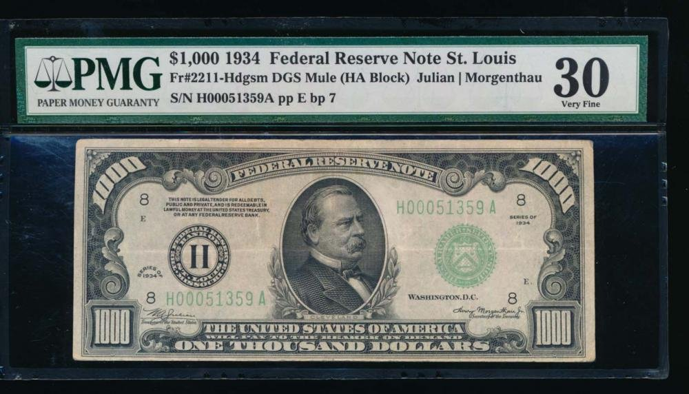 1934 $1000 St Louis Federal Reserve Note PMG 30