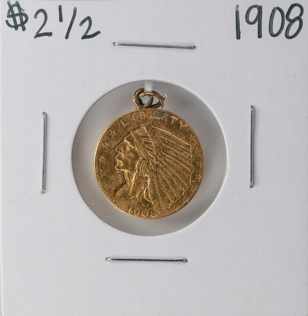 1908 $2 1/2 Indian Head Quarter Eagle Gold Coin - Ex