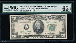1950B 20 Chicago Federal Reserve Note PMG 65EPQ