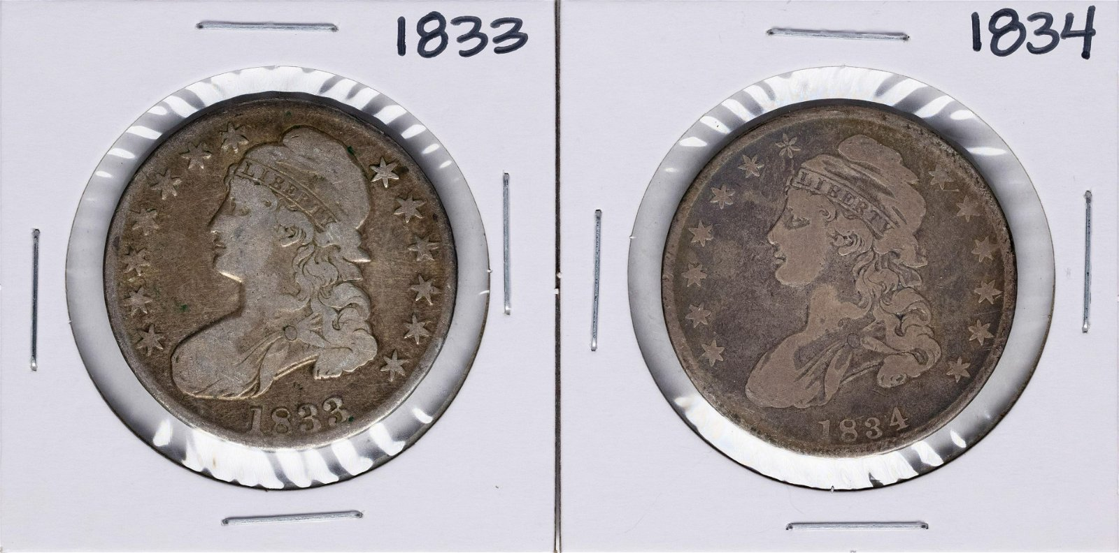 Lot of 1833-1834 Capped Bust Half Dollar Coins