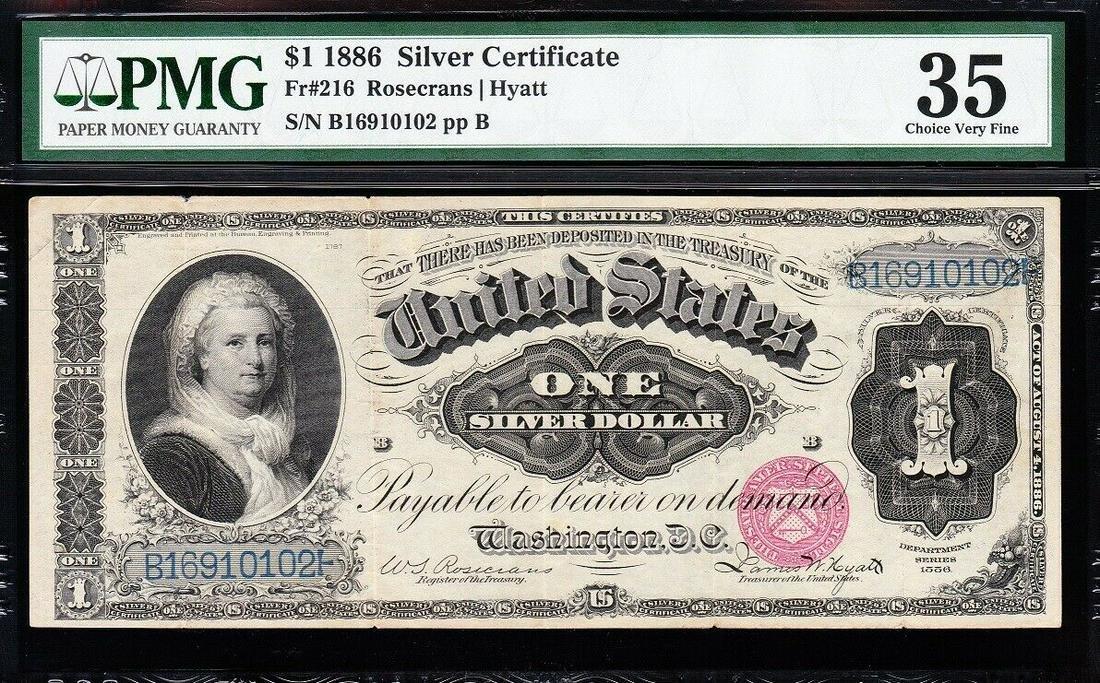 1891 $1 Martha Washington Silver Certificate PMG 35