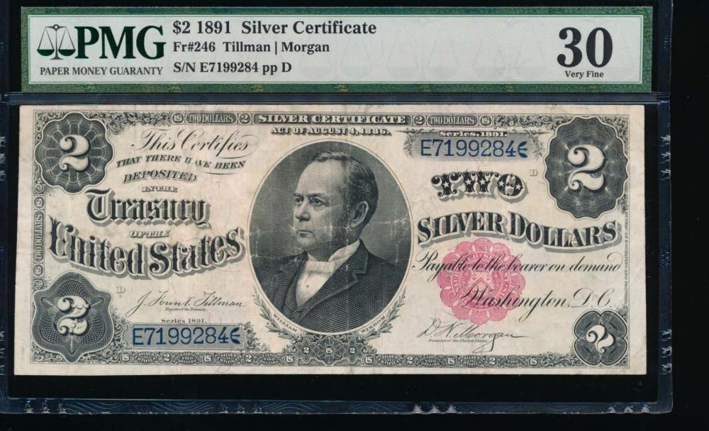 1891 $2 Silver Certificate PMG 30
