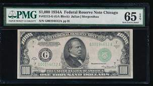1934A 1000 Chicago Federal Reserve Note PMG 65EPQ