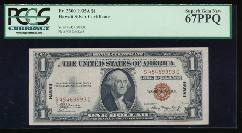 1935A $1 Hawaii Silver Certificate PCGS 67PPQ