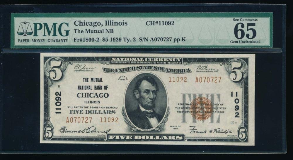 1929 $5 Chicago National Bank Note PMG 65