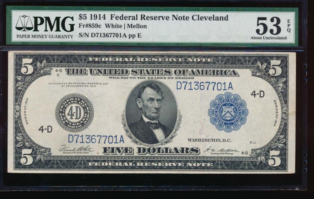 1914 $5 Cleveland Federal Reserve Note PMG 53EPQ