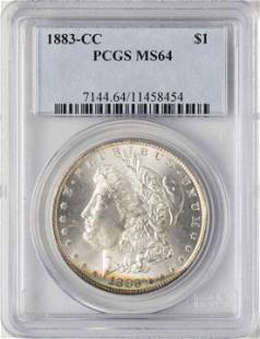1883CC 1 Morgan Silver Dollar Coin PCGS MS64 Amazing
