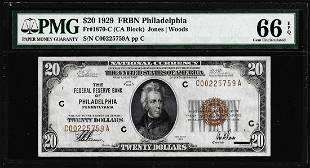 1929 20 Federal Reserve Bank Note Philadelphia