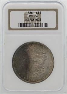 1886 1 Morgan Silver Dollar Coin NGC MS64 Nice Toning
