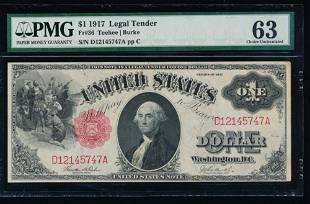 1917 1 Legal Tender Note PMG 63