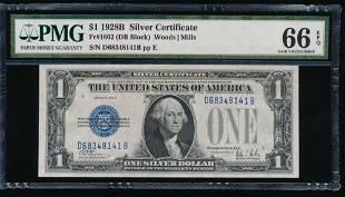 1928B 1 Silver Certificate PMG 66EPQ