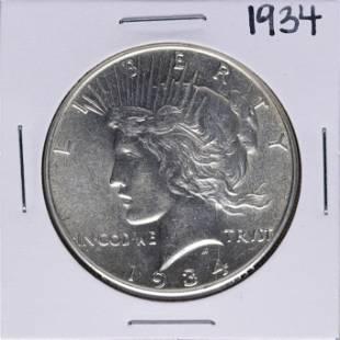1934 1 Peace Silver Dollar Coin