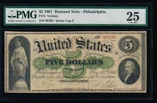 1861 5 Philadelphia Demand Note PMG 25