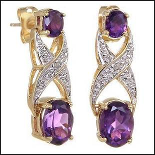 Plated 18KT Yellow Gold 318ctw Amethyst and Diamond