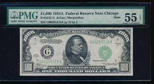 1934A 1000 Chicago Federal Reserve Note PMG 55EPQ