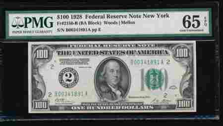 1928 $100 New York Federal Reserve Note PMG 65EPQ