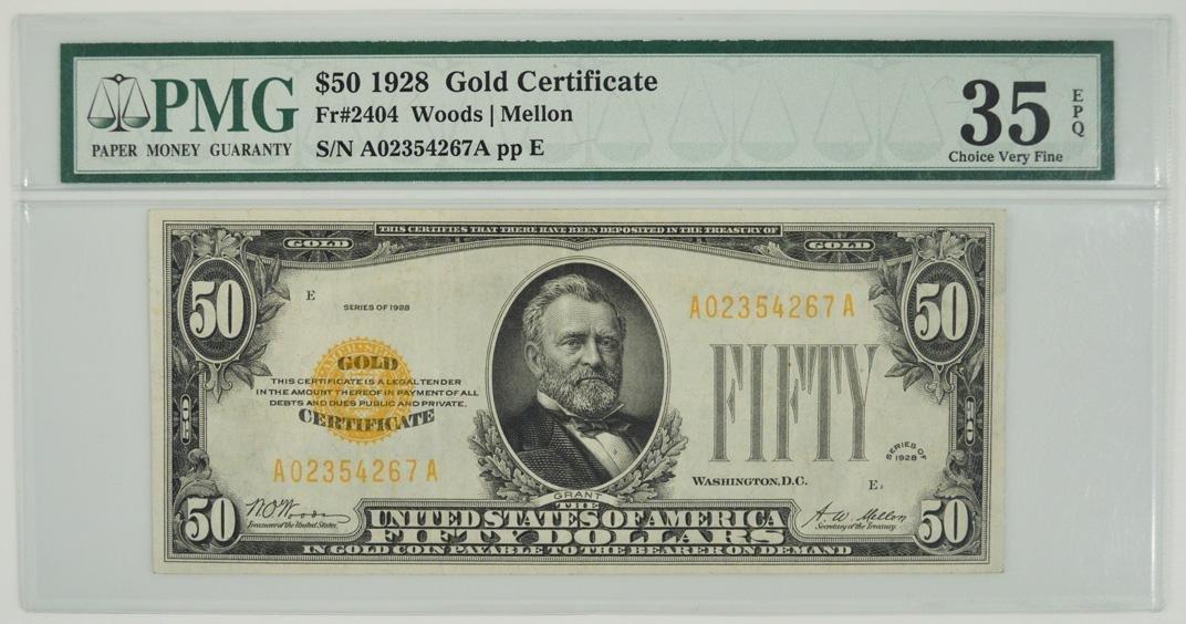 1928 $50 Gold Certificate PMG 35EPQ