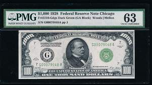1928 1000 Chicago Federal Reserve Note PMG 63
