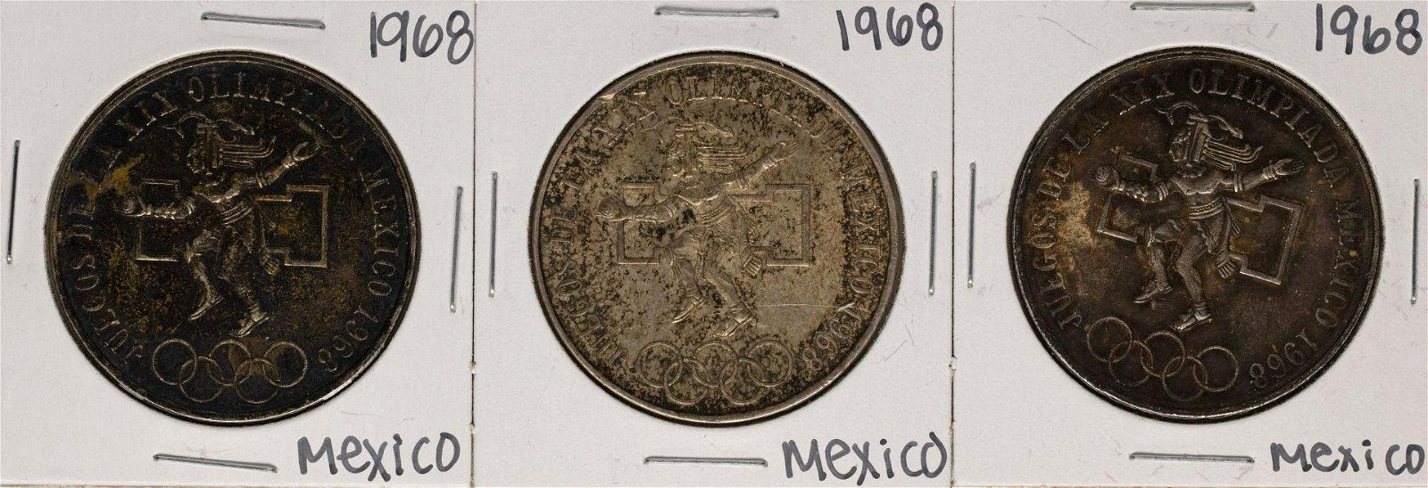 Lot of (3) 1968 Mexico 25 Pesos Olympics Commemorative